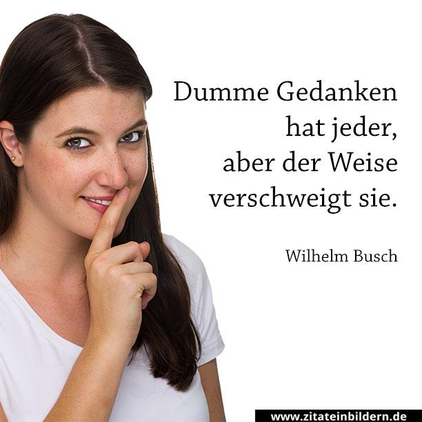 Dumme Gedanken hat jeder, aber der Weise verschweigt sie. (Wilhelm Busch)