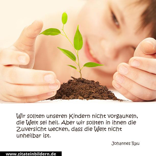 Wir sollten unseren Kindern nicht vorgaukeln, die Welt sei heil. Aber wir sollten in ihnen die Zuversicht wecken, dass die Welt nicht unheilbar ist. (Johannes Rau)