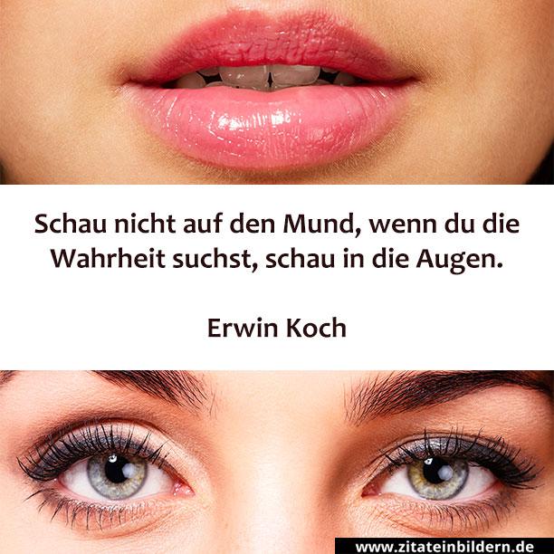 Schau nicht auf den Mund, wenn du die Wahrheit suchst, schau in die Augen. (Erwin Koch)
